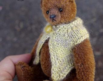 Cedrick,  Miniature Cinnamon  Mohair Artist Teddy Bear from Aerlinn Bears