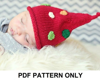 Knitting Pattern - Christmas Pixie Hat Pattern - the KRIS Hat (Newborn, Baby, Toddler, Child & Adult sizes incl'd)