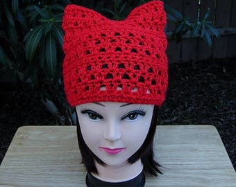 Bright Lipstick Red Pussy Cat Hat, Summer Lacy PussyHat Lightweight Soft Acrylic Crochet Knit Solid Red Thin Beanie, Ready to Ship in 2 Days