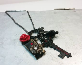 Vintage Treasures - Black and Red Charm Necklace Key, Camera, Rose