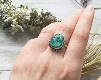 Turquoise Ring - Freeform Royston Turquoise - Size 6 - Handmade in Cherokee NC - Sterling Silver - Ashley Goings