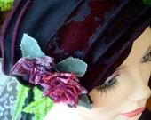 Womens hat chemo hat soft stylish chemo gift cloche flapper hat aubergine black headcover