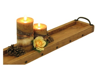 Candle Tray Wooden, Long Wood Tray, Candle Holder, Candle Dish, Candle Platter, Mantle Candle Holder, Succulent Tray, Herb Plant Tray