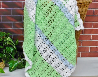 Crochet Baby Blanket Mint Green White Blue Boy Colors Striped Design Scalloped Border