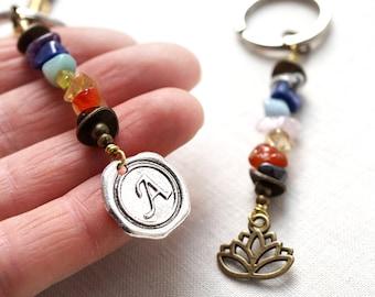 Boho Jewelry Gift Personalized Keychain Initial or Lotus Pendant 7 Chakra Stone Set Chakra Crystal Jewelry Custom Keychain Wax Seal Stamp