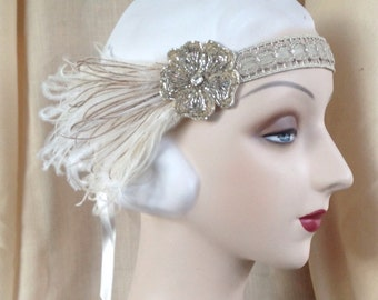 1920s flapper headdress or edwardian headband with floral headpiece of antique beads with ivory and brown feathers - Delia - made to order