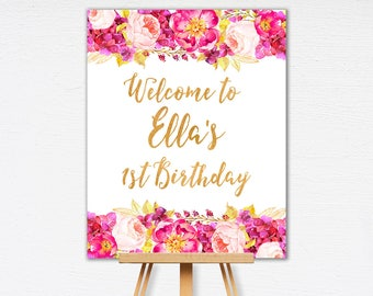 Floral Birthday Sign | Welcome Sign | Pink Custom Birthday Sign | 1st, 2nd, 3rd, 4th, 5th Birthday | Printable Birthday Sign | 1569