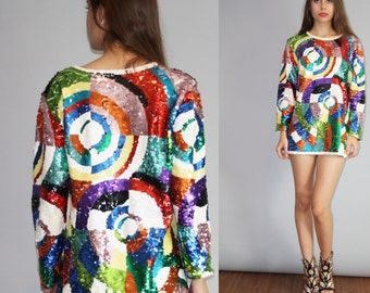 Abstract Sequined Graphic Rainbow Geometric Vintage 1980s Super Short Mini Dress   - Vintage Sequined Dresses  - W00088