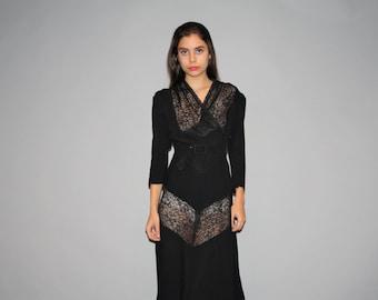 1940s Black Sheer Lace Vintage Rayon Dress  - Vintage 1940s Dress  - Vintage 40s Dresses   - W00228