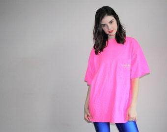 Vintage 80s Neon Pink Vuarnet Oversized T Shirt - 1980s Neon Tees - W00582