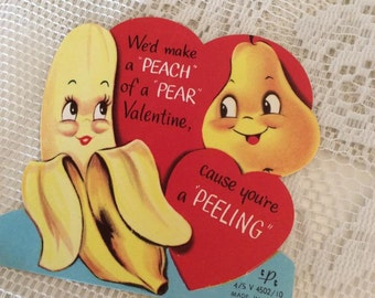 Vintage 1950s Valentine Card Banana & A Pear Collectible Paper Ephemera Arts Crafts Scrap Booking