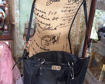 Vintage 1990s Purse Shoulder Hand Bag COACH Black Genuine Leather COACH Has Hang Tag Creed # G1193-17847