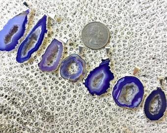 Purple Druzy Geode Slice Necklace,Silver Plate,Medium Size,Crystal Necklace,Purple Geode Slice Necklace,Purple Druzy Necklace,Purple Geode