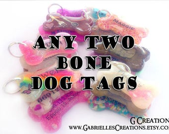 Bundle ANY TWO Bone Dog Tags - Personalized Handmade Pet ID - Glow in the Dark - Colorful Glitter Sprinkles Dog Collar Accessory - Set Pack
