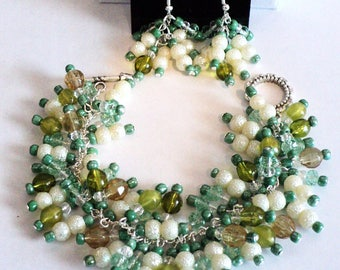 Beach Jewelry, Jewelry Set, Cruise Jewelry, Cha Cha Bracelet, Dangle Earrings, Green and Creme, Shabby Chic Jewelry - BEACH WALK