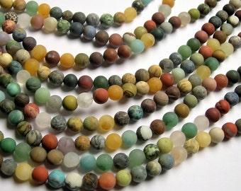 Gemstone mix - 8mm round beads - matte - full strand - 50 beads - A quality - multi gemstone mix ...