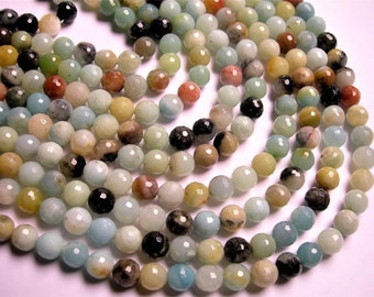Amazonite 8mm faceted round beads - 16 inch strand - 49 beads - RFG1254