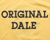 Original Dale T-Shirt, Yellow 50/50 Blend Omega Tee, #12, Vintage 80s, Soft/Thin