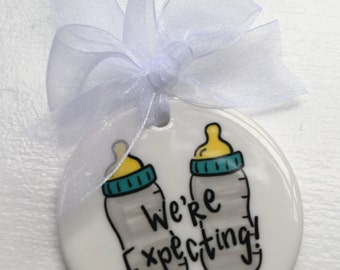 We're Expecting Twins Baby Christmas Ornament - We're Pregnant Christmas Ornament - Twins Pregnancy Announcement - Pregnancy Ornament