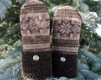 100% Wool Brown Fair Isle Fleece Cuffed Women's Recycled Sweater Mittens