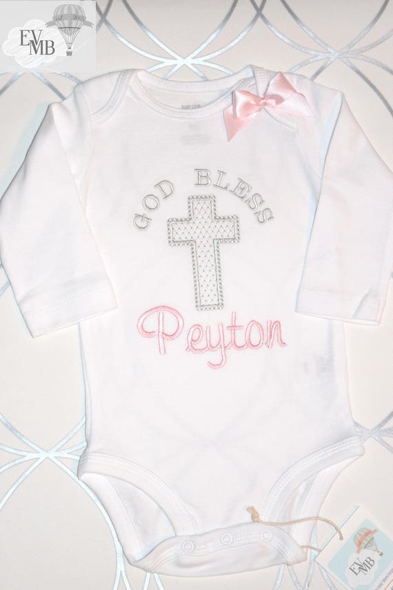 God Bless Baby Girl Christening Baptism Onesie gift keepsake personalized, cross name or monogram, makes a great gift (long sleeves)
