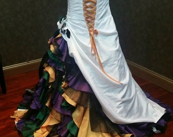 Mardi Gras Wedding Dress Queen of Mardi Gras Dress Gown Purple Green Gold Mardi Gras Ballgown