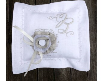 Ring Bearer Pillow Personalized Monogram Grey Rustic Flower Corsage Button Ribbon White Linen Cushion Custom Embroidery