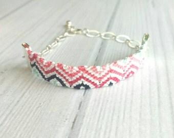 Friendship Bracelet - silver chain adjustable chevron stripe zig zag pink blue white navy diagonal pattern - cotton braid knot thread string