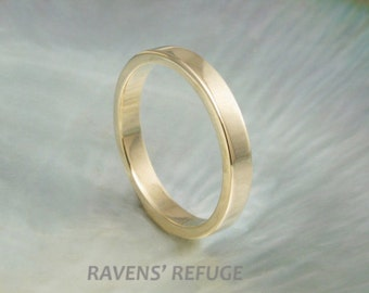 3mm flat wedding band / simple wedding ring in 14k gold