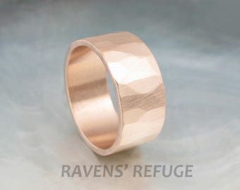 organic wedding band -- 9mm wide rustic wedding ring in 14k rose gold