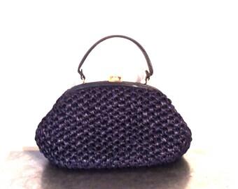 vintage woven purse - 1950s Block navy woven snap-top handbag made in Italy