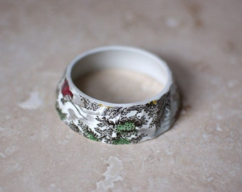 StayGoldMaryRose - Stunning vintage 'Country life'  scene pattern tea cup stacking bracelet.