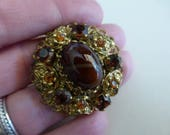 vtg Designer Signed made GERMANY Brooch Pin / Rootbeer Amber Rhinestone Goldtone / Art Deco Nouveau Victorian Edwardian / FREE SHIP usa