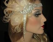 SPARKLING DECO PEACOCK- Ivory Peacock Feather Gatsby Headband, Art Deco Flapper Headband, Peacock Bridal Headpiece, 20s Peacock Headband