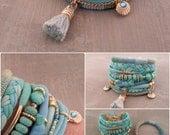 Bohemian Bracelet, Turquoise Bracelet, Gypsy Bracelet, Seafoam Bracelet, Boho Bracelet Set, Tassel Bracelet, Mint TShirt Bracelet