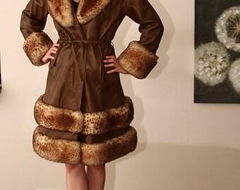 vintage LARGE leather sheepskin fur trimmed wrap princess coat