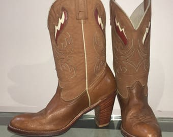 size 8.5 ACME high heel SEXY cowgirl boots leather cut outs stacked leather heel