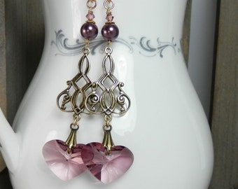 Swarovski Crystal Hearts, Pearls and Antiqued Filigree Earrings with Gold Filled Ear Wires