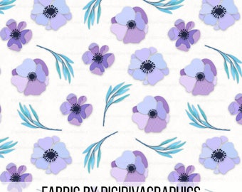 Paper Florals Fabric By The Yard - Pinestripe Purple Paper Flowers and Leaves Crafting Quilting Print in Yards & Fat Quarter