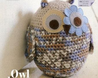 Large multi-coloured owl doorstop pdf crochet pattern