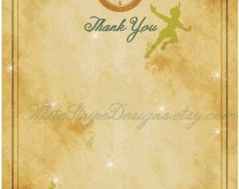 Printable Peter Pan Thank You Card - 5.5x4 Flat - Neverland Thank You Card