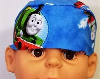 Thomas the Tank Engine Chemo Cap, Skull Cap, Hair Loss, Bald, Helmet Liner,Hat, Do Rag, Head Wrap, Boys, Race Rails, Bandana, Train,Alopecia