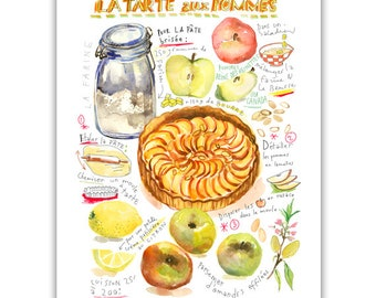 Watercolor Apple pie recipe painting, Wall art print, Kitchen art, Food artwork, Bakery art, Home decor, Dessert illustration, French food