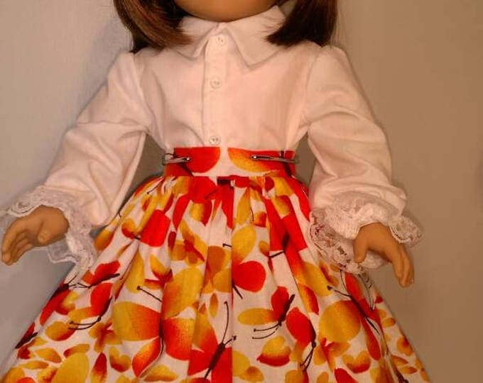 Orange and yellow Butterfly print skirt and blouse set for 18 inch dolls summer Butterfly print