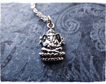 Silver Ganesha Necklace - Sterling Silver Ganesha Charm on a Delicate Sterling Silver Cable Chain or Charm Only