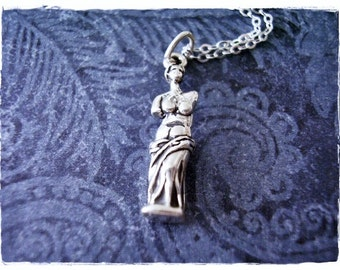 Silver Venus De Milo Statue Necklace - Sterling Silver Venus De Milo Charm on a Delicate Sterling Silver Cable Chain or Charm Only
