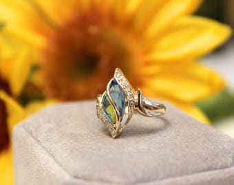 Vintage Blue Topaz table ring 14k gold ONLY ONE!