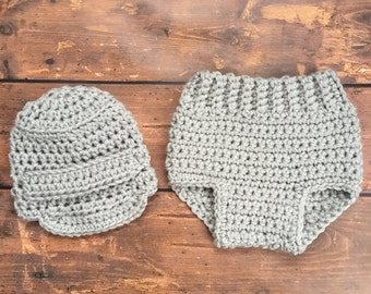Newborn Crochet Outfit Boy -  Newborn Photo Prop - Newsboy Hat and Diaper Cover Outfit Set - Crochet Outfits - Photo Outfits - Baby Boy Gift