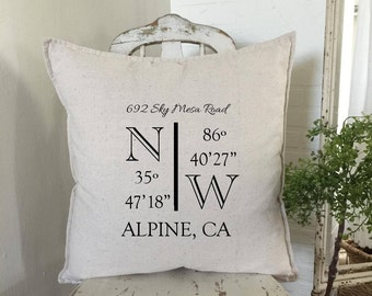 New Home Gift | Latitude Longitude Pillow | New House | Realtor Closing Gift | Housewarming Gift | New Home Gifts | Personalized Pillow