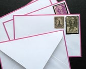 Mail it with class. Mourning stationery. Vintage envelopes with purple edge borders. Set of 5.
